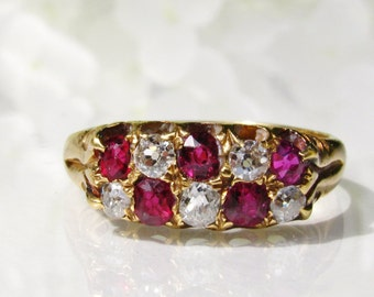 Antique Ruby & Diamond Wedding Band 0.30ctw Old Mine Cut Diamond Antique Engagement Ring 18K Gold Diamond Wedding Ring July Birthstone Ring