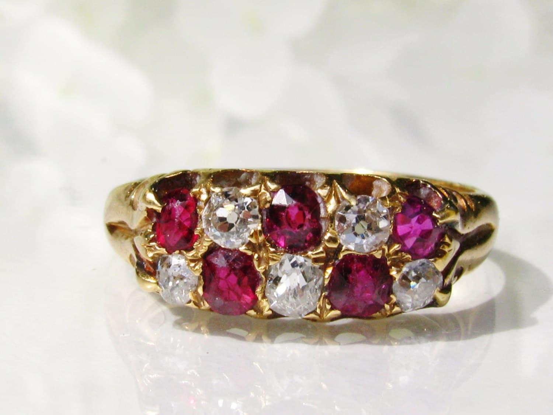 Antique Ruby & Diamond Wedding Band 0.30ctw Old Mine Cut