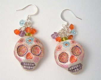 Day of the Dead Dia Des Los Muertos Sugar Skull Earrings