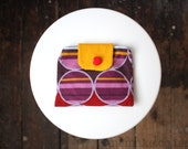 Geometric purse cotton clutch pouch bag purple red corduroy knitted yellow yarn circles stripes memake handmade fashion