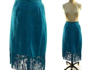 80s Suede Fringe Skirt / Vintage 1980s Turquoise Southwestern Pencil Skirt with Long Fringed Hem / Midi Length / Western Boho / Medium