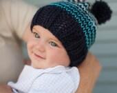 SALE Baby Boy Beanie, Knit Ski hat with Pom Pom, Blue Ombre Stripes