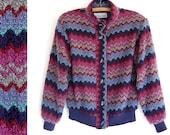 vintage chevron jacket / boucle cardigan sweater knit jacket / zig zag in plum grey teal navy wine periwinkle blue / nubby texture