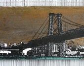 """48"""" x 12"""" Brooklyn Skyline - Williamsburg Bridge Wall Hanging on Reclaimed Barn Wood"""