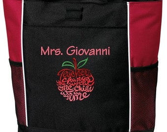Personalized Teacher Tote Bag Embroidered with Name and Apple Design Teacher Appreciation Great Gift!