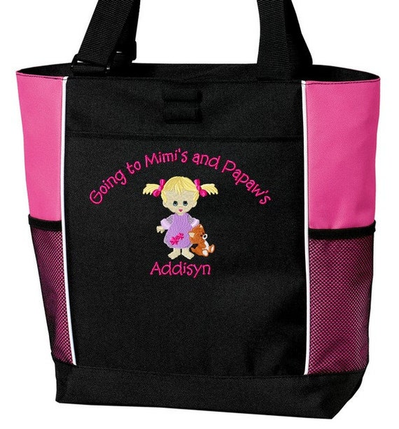 Personalized Going to Grandma's, Nana's, Grandma and Grandpa's Nana and Papa's Overnight Tote Bag Embroidered