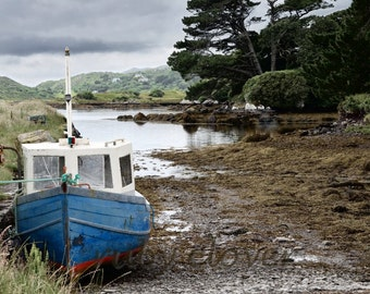Fishing Boat Photo, Low Tide, Co. Kerry, IRELAND Photography, Scenic Country, Fine Art Photography, JAWS Boat,Gift for Dad, Fisherman Decor