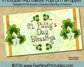 Instant Download - Printable Popcorn Wrapper - St. Patrick's Day Blessings -  PDF and/or JPG File