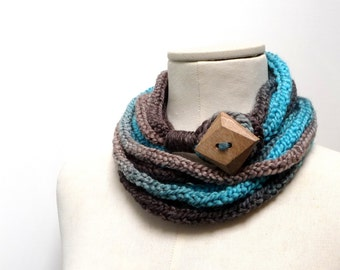 Knit Infinity Scarf Necklace, Loop Scarlette Neckwarmer - Turquoise, Brown, Teal, Beige ombre yarn with big wood button - Handmade