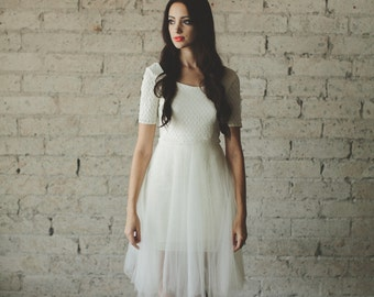 Ivory Ballerina Half Sleeve Low Cut Back Tea Length Geometric Lace and Tulle Party Dress - Jasmin by Cleo and Clementine