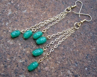Eco-Friendly Dangle Earrings - Catch Me When I Fall - Recycled Delicate Vintage Chain and Kelly Green Glass Rice Beads