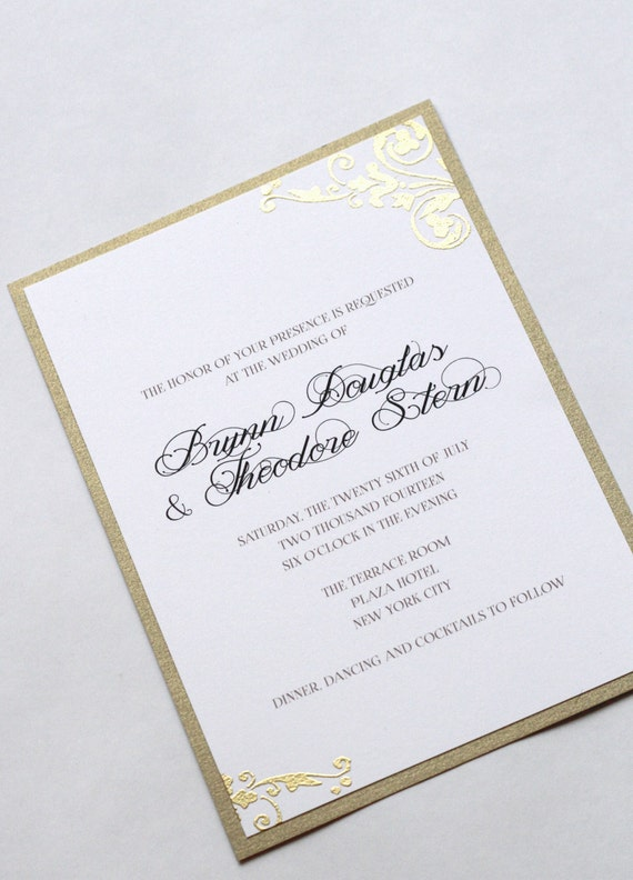 Floral Swirl Wedding Invitations, Gold Swirl Embossed Wedding Invites, Vintage Wedding, Elegant Wedding, Black Tie, Gold and Black, Weddings