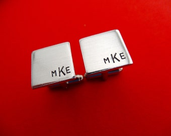 Personalized Cufflinks - Square Initial Monogram Cufflinks - Aluminum Custom Cuff links
