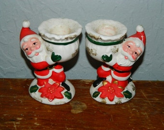 Vintage Santa Claus Candle Stick Holders, Kris Kringle, Saint Nick, Pointsetta Flower Base