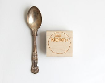 From the Kitchen of Stamp (Wood Mounted) Round Label Rubber Stamp, optional wood handle, Retro Design for jams, baked goods, homebrew (S303)