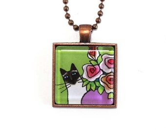 Siamese Cat Jewelry/ Seal Point Glass Pendant in Copper Setting by Susan Faye