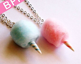 BFF Necklaces Carnival Cotton Candy Best Friends Necklaces Pink and Blue - Polymer Clay Food Jewelry