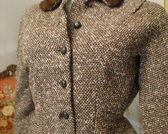Reduced Pristine RARE  Wiggle Late 40's early 50's  Wool Suit with Mink Fur collar  Bakelite Buttons Raw Silk Linning