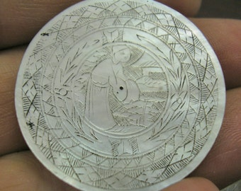 Antique Asian Mother of Pearl GAMING Piece, GAMBLING CHIP, Counter, Hand Engraved, 31mm, Number 5, wonderful condition