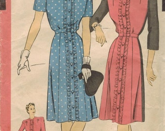 1940s Hollywood 1540 FF Vintage Sewing Pattern Misses Dress Size 16 Bust 34