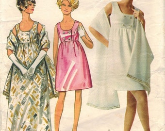 1960s Butterick 5212 Vintage Sewing Pattern Misses Evening Gown and Stole Size 12 Bust 34