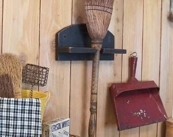 Primitive Farmhouse Broom Holder Bracket Utility Organization Wall Mount Lamp Black / Color Choice