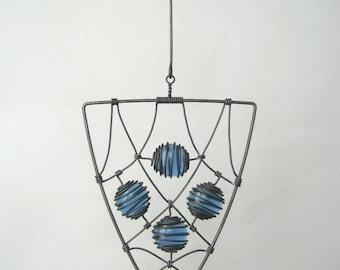 Wire Sculpture / Triangular Pendant In Blue II