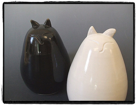 Reserved List-My Big Fat Cat Salt and Pepper Shakers Set-White and Black Glaze by misunrie