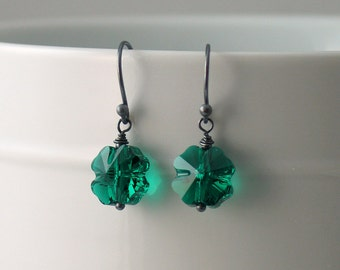 Shamrock Earrings, Emerald Four Leaf Clover Dangles, Lucky Green Earrings, Swarovski Crystal Clovers & Sterling, Irish, St Patrick's Day
