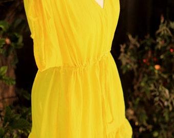 Mini Caftan Dress - Beach Cover Up Kaftan with Kimono Sleeves in Yellow Cotton Gauze - 20 Colors