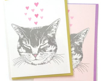 Box of 6 A2 size Happy Cat Greeting Cards, blank inside, cute original kitty love heart design, recycled paper, made in Portland Oreogn