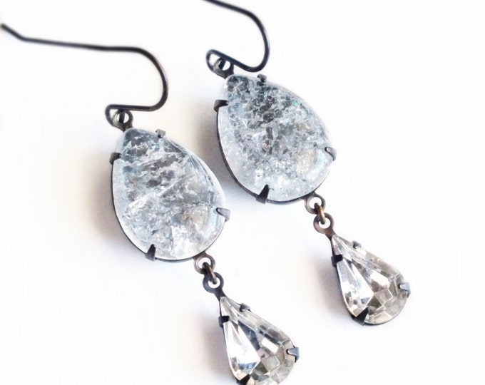Clear Rhinestone Earrings Ultra Rare Vintage Ice Crackle Glass Earrings Clear Crystal Dangle Earrings Crackle Jewelry