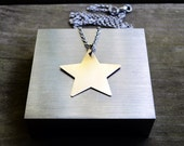 Star Necklace - Brass - Aluminum - Modern - Rustic - Under 25 - For Her - Celestial - Minimalist - Earthy - Gold