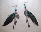 Feather earrings bead with long chain teal blue feather