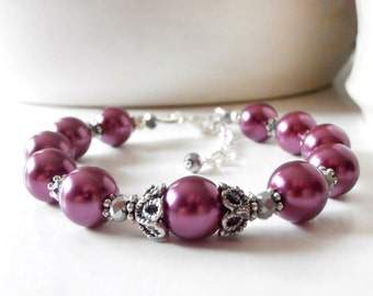 Sangria Pearl Bracelet, Antiqued Silver Vintage Style Wedding Jewelry Plum Bridesmaid Jewelry Bridesmaid Gift Idea Purple Mulberry