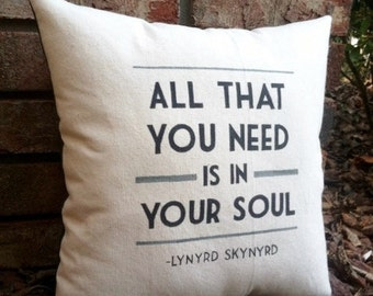 Simple Man- Lynyrd Skynyrd, Customizable double sided lyric pillow