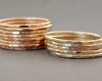 SIX Thin Gold Filled Rings skinny hammered stackable rings