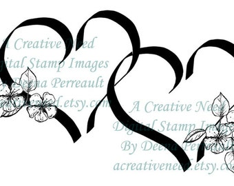 INSTANT DOWNLOAD Digital Stamp Image HEARTS and Flowers
