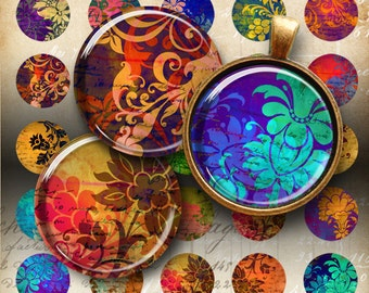 1 inch (25mm) and 1.5 inch size images BATICK CIRCLES Printable Download Digital Collage Sheet for pendants magnets bottle caps bezel cabs