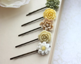 Shabby Green, Yellow, Brown, Ivory Flowers, Hair Pins. Shades of Brown and Ivory Hair Bobby Pins, Floral Hair Accessories. Set of Five (5)