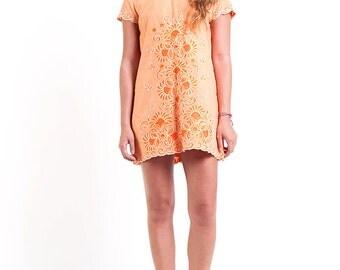 The Vintage Embroidered Tangerine Shift Dress