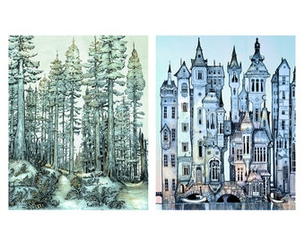 Forest and City  - Print Set  giclée Fantasy wall Art Print  - Wall Art - Steampunk Art PRINT  - blue - silver - twilight  - color