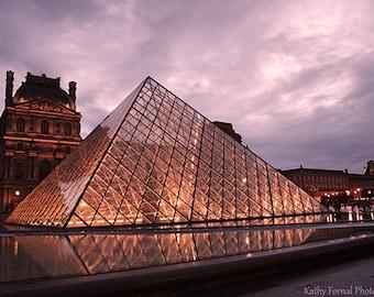 Paris Photography, Louvre Museum Pyramid Photos, Paris Night Lights Art Prints, Paris Sparkling Twilight Night Lights, Paris Fine Art Photos