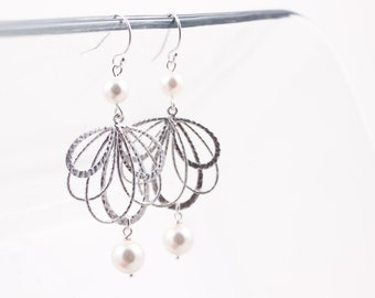 Bridal Earrings Wedding Jewelry Multi Circle and Pearl Silver Earrings Suzette