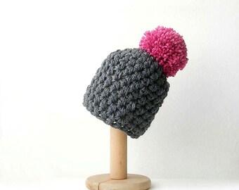 Grey Pom Pom Beanie Knit Hat with Cyclamen Pink  Pom Pom Chunky Women's Beanie