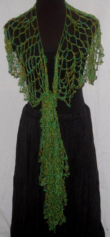 Emerald & Shades of Green Silk Handmade Lacy Crochet Scarf or Wrap