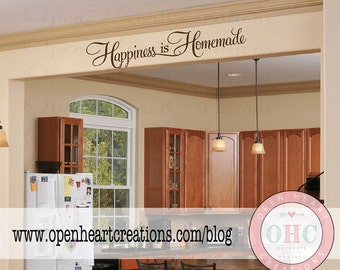 Happiness is Homemade Kitchen Wall Decal Saying - Kitchen Table or Dining Room Wall Saying Qt0287