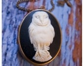 the owls are not what they seem - brass locket w/unusual white owl cameo - solid perfume or cologne - over 60 natural aroma options