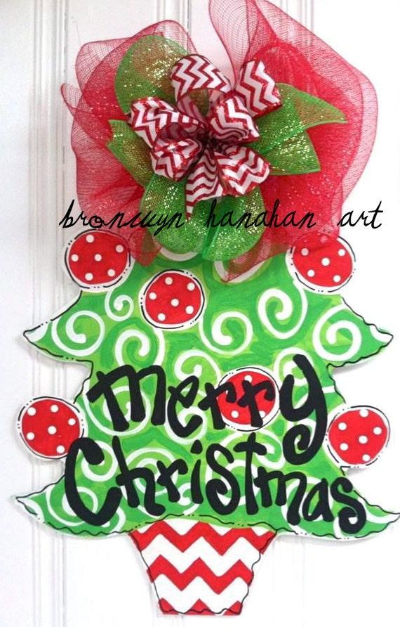 Items Similar To Chevron Christmas Tree Door Hanger