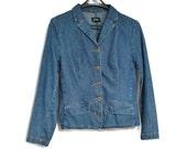 Vintage Jacket Denim Jacket Jean Jacket 1980's Denim Blazer Hip Length Preppy Boho Size Small to Medium